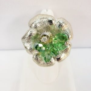 Costume Style Silver Flower Ring with Green Beads
